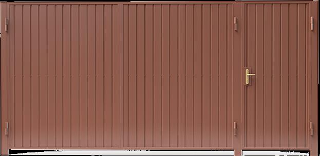 Ворота из профнастила с калиткой